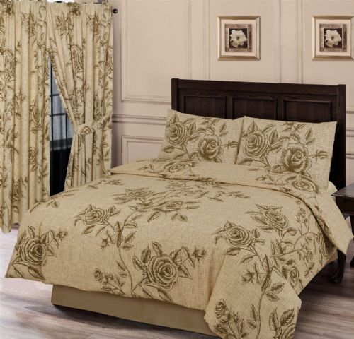 MODERN LARGE ROSE LEAVES FLORAL BEIGE NATURAL TAN COLOUR BEDDING OR CURTAINS